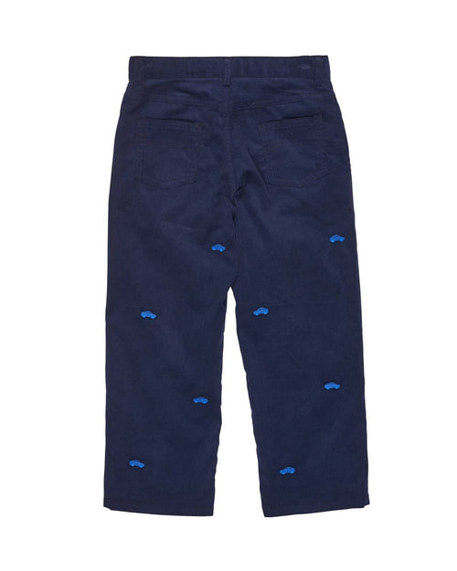 Navy Corduroy Pant with Car Embroidery - Florence Eiseman