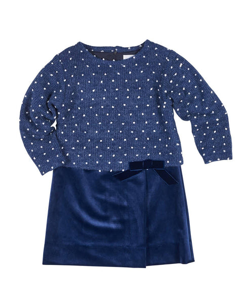 Girls Dress with Sweater Knit Top and Velvet Skirt - Florence Eiseman