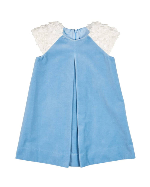 Light Blue Velvet Dress with 3D Flutter Sleeves - Florence Eiseman