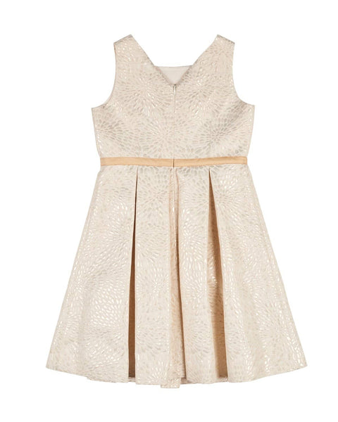 Gold and Ivory Jacquard Dress w/Ribbon Bow - Florence Eiseman