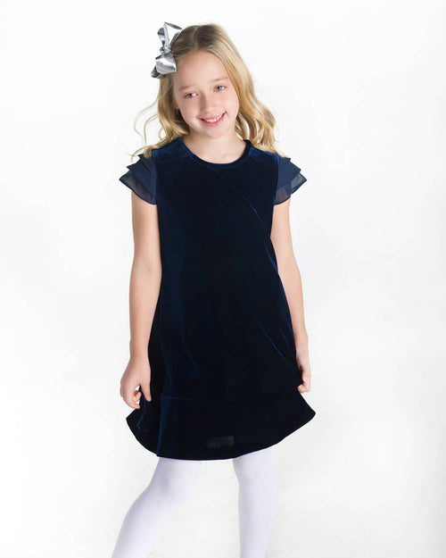 Navy Stretch Velvet Dress - Florence Eiseman