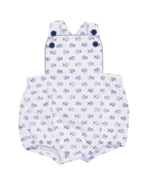 White and Blue Fish Print Romper - Florence Eiseman