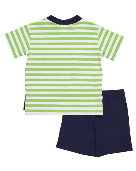 Boys Stripe T Shirt with Sailboat and Navy Shorts - Florence Eiseman