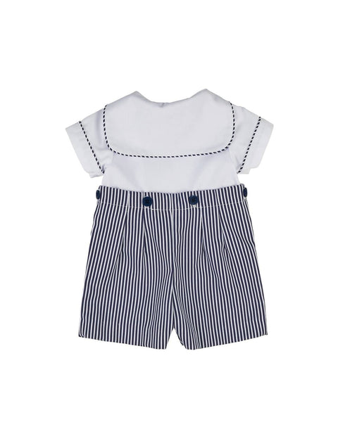 White and Navy Stripe Finewale Pique Button-On Shortall - Florence Eiseman