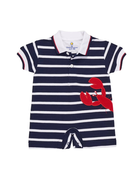 Boys Stripe Romper with Lobster Applique - Florence Eiseman