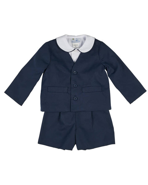 White and Navy Pique Eton Suit - Florence Eiseman
