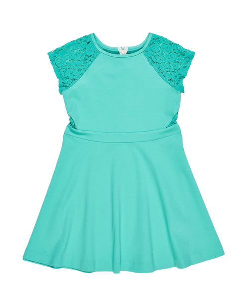 Tween Jade Ponti & Lace Dress - Florence Eiseman