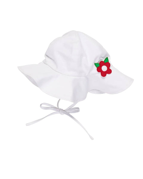 Beach Hat with Appliqued Flower - Florence Eiseman