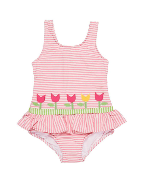 Girls Seersucker Stripe Swimsuit with Tulips - Florence Eiseman