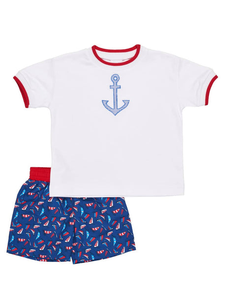 Boys Sailboat Print Swim Trunk - Florence Eiseman