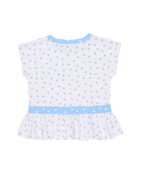 White with Blue Dot Knit Top with Bows - Florence Eiseman