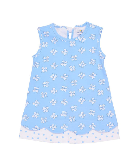 Summer sleeveless dress in blue bow printed knit - Florence Eiseman