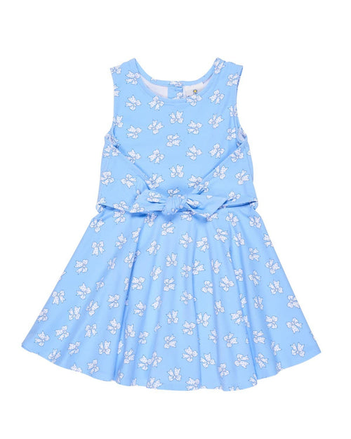 Tween Bow Print Knit Dress with Tie Front - Florence Eiseman