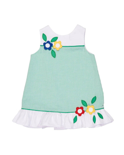 Green and White Check Dress with Flower Applique - Florence Eiseman