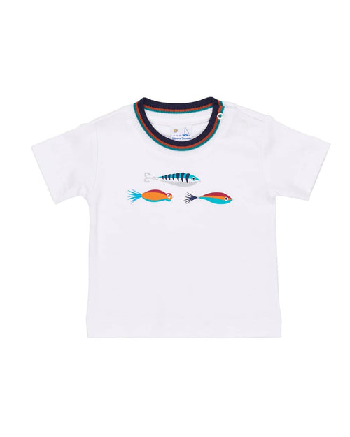White T-Shirt with Fishing Lures - Florence Eiseman