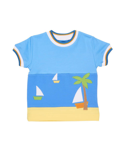 T-Shirt with Sailboats and Palm Tree - Florence Eiseman