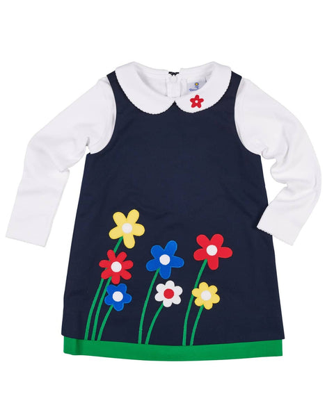 Navy Jumper with Appliqued Flowers - Florence Eiseman