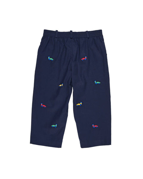 Navy Twill Pull-on Pants with Embroidered Race Cars - Florence Eiseman