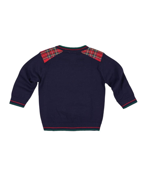 Boys Sweater with Tartan Shoulder Patches - Florence Eiseman