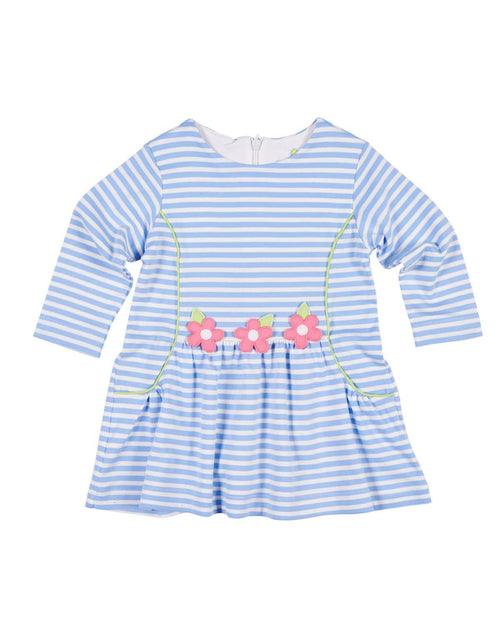 Blue Stripe Knit Dress with Flowers - Florence Eiseman