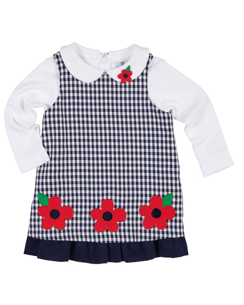 Navy Check Jumper with Cut-Out Flowers - Florence Eiseman