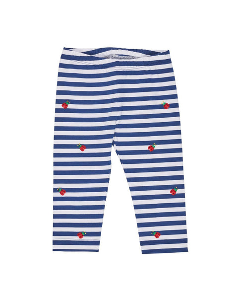 Navy Stripe Leggings with Ladybugs - Florence Eiseman