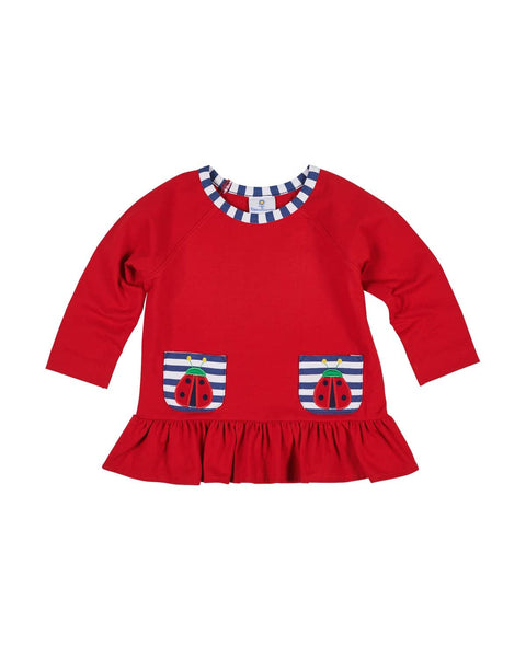 Red Girls Top with Ladybug Appliques - Florence Eiseman