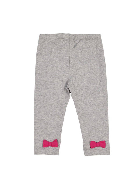 Heather Grey Leggings with Ankle Bows - Florence Eiseman