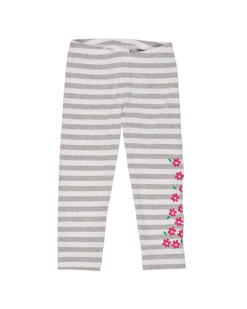 Heather Grey Stripe Leggings with Embroidered Flowers - Florence Eiseman
