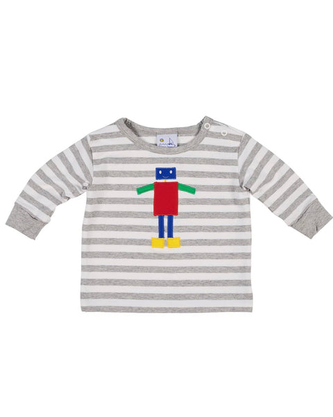 Boys Heather Grey Stripe Top with Appliqued Robot - Florence Eiseman