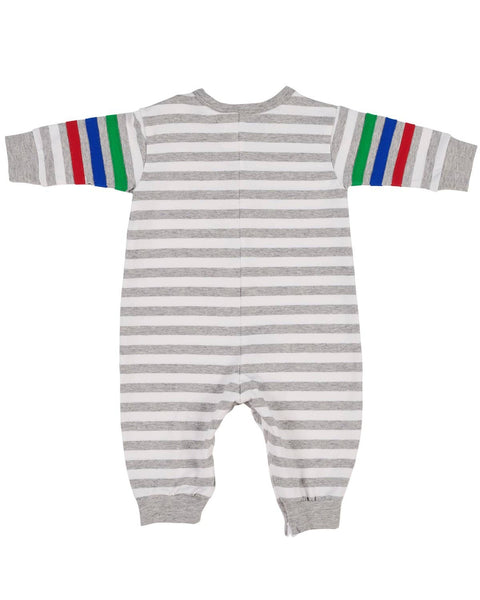 Grey and White Knitted Stripe with Color Sleeve Bands and Robot Applique Romper - Florence Eiseman