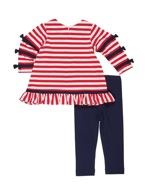 Stripe Tunic with Bows and Leggings - Florence Eiseman