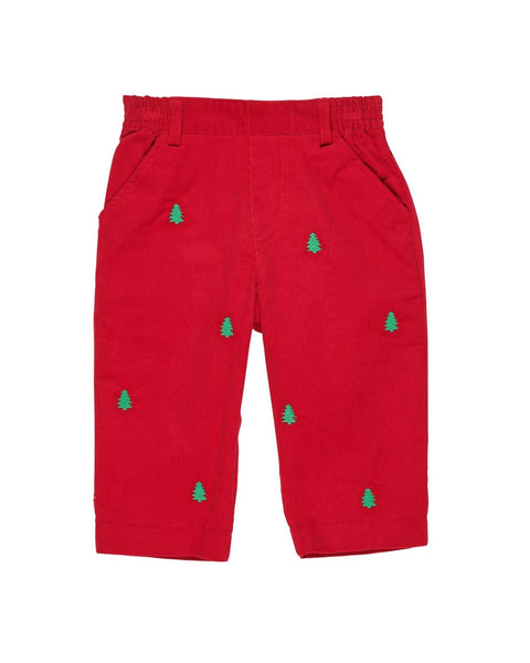 Boys Red Corduroy Pant with Christmas Trees - Florence Eiseman