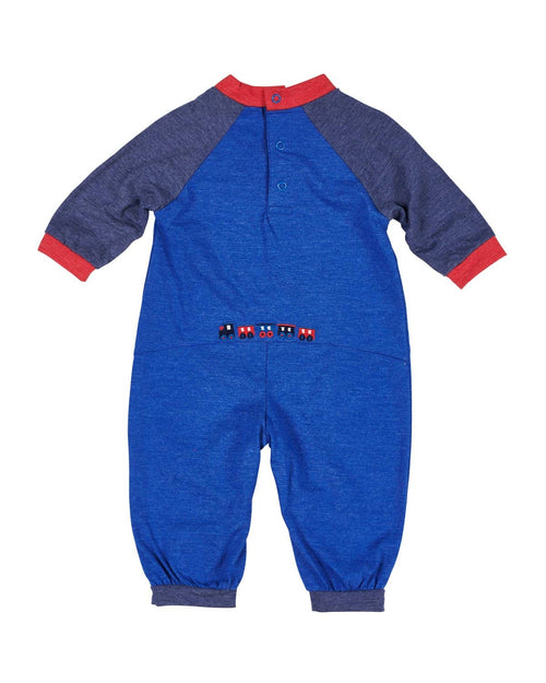 Blue and Red Knit Romper with Applique Train - Florence Eiseman