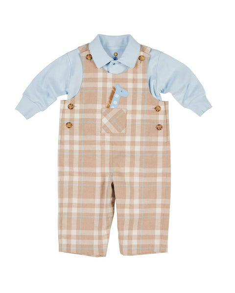 Tan and Blue Plaid Longall with Giraffe Applique - Florence Eiseman