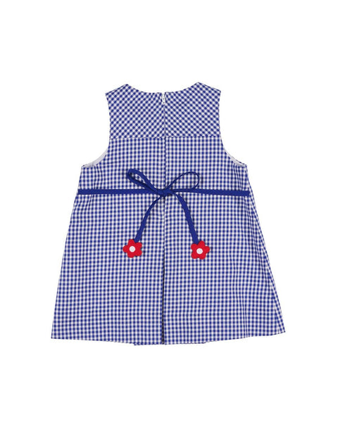 Royal Check Jumper with Appliqued Flowers - Florence Eiseman