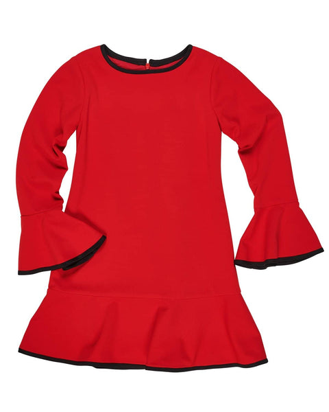 Crepe Knit Dress with Bell Sleeves - Florence Eiseman