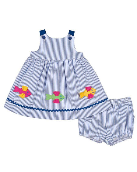 Seersucker Shortall with Octopus Applique