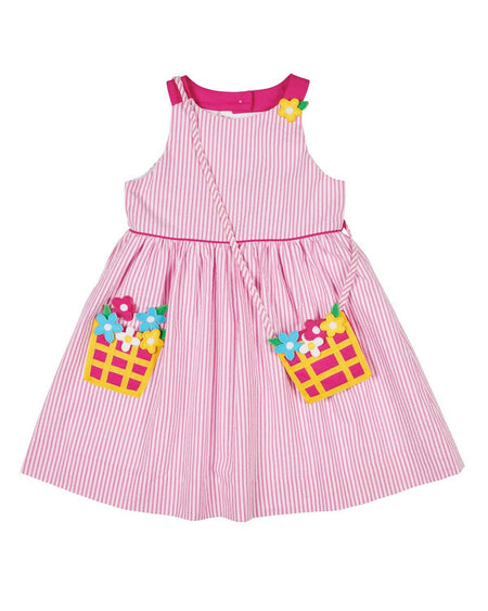 Pink Stripe Knit Dress with Watering Can Pocket