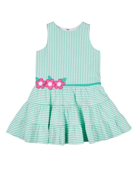 Aqua Houndstooth Print Chiffon Dress