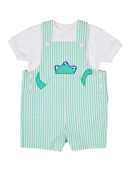 Jade Stripe Seersucker Shortall with Dinosaur Applique - Florence Eiseman