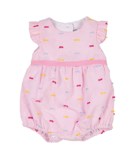Girls Stripe Romper with Ruffles and Flower