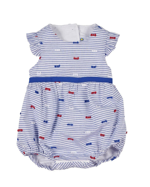 Blue Stripe Romper with Fringes - Florence Eiseman
