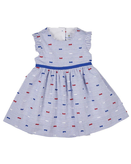 Blue/White Dot Back Button Dress, Ruffle Sleeves, Flowers
