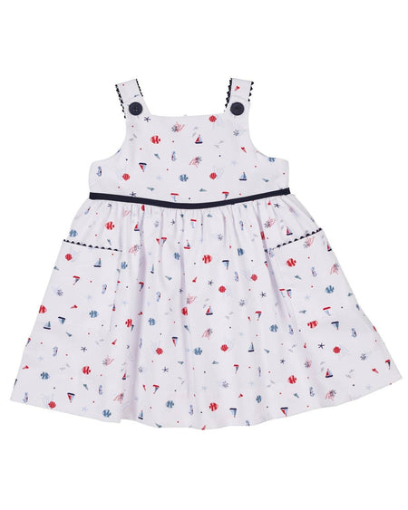 Coral and White Polka Dot Dress and Bloomer with Appliqued Flowers