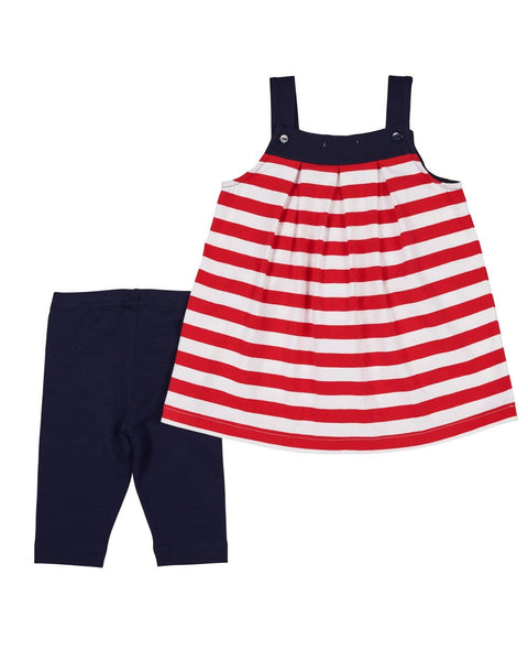 Red and White Stripe Top with Navy Capris - Florence Eiseman