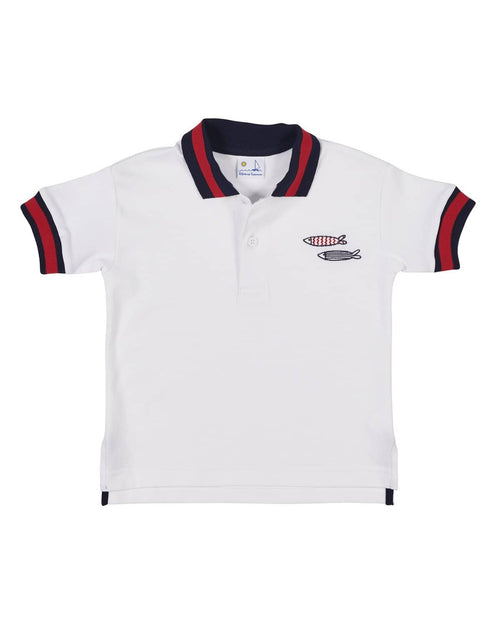 Polo Shirt with Navy and Red Stripe Collar and Fish Embroidery - Florence Eiseman