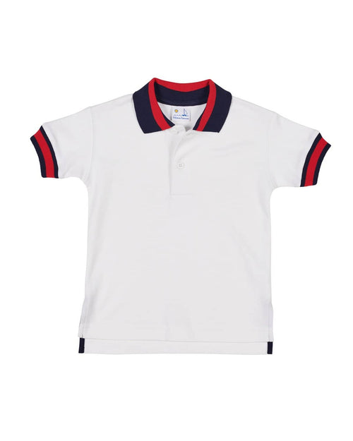 Polo Shirt with Navy and Red Stripe Collar - Florence Eiseman