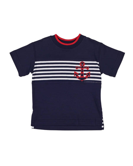 White and Navy Pique Suspender Short and Shirt