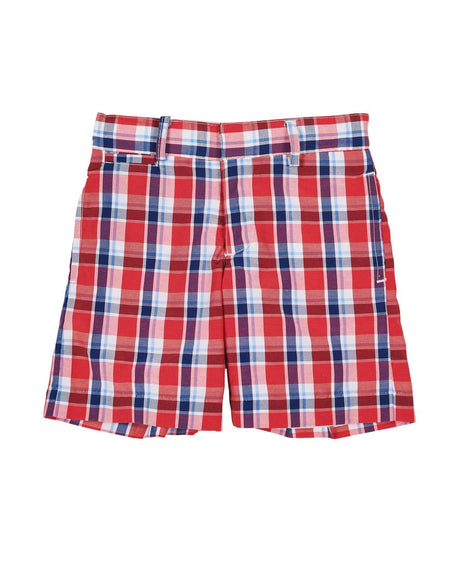 Seersucker Check Shorts with Sailboat Embroidery